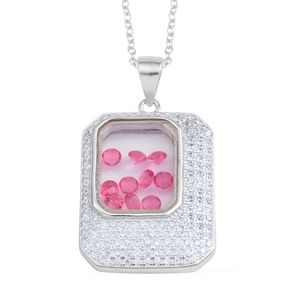 Jewelry - Simulated Diamond, Pink Austrian Crystal Sterling